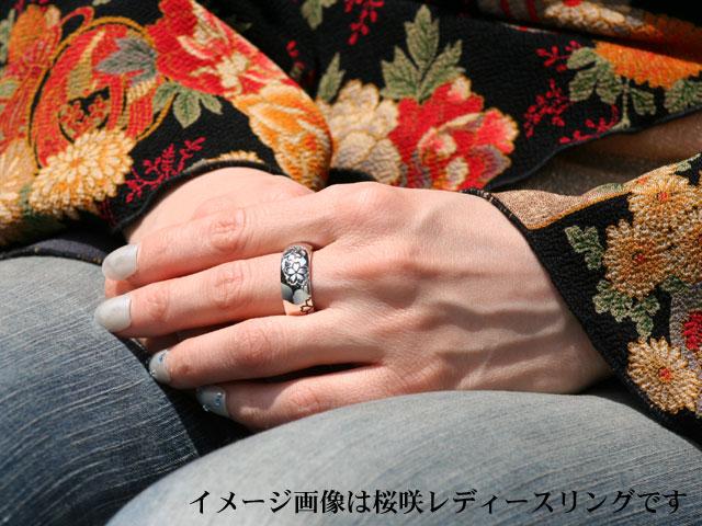 『桜咲』シルバーリング/シャンパンガーネット